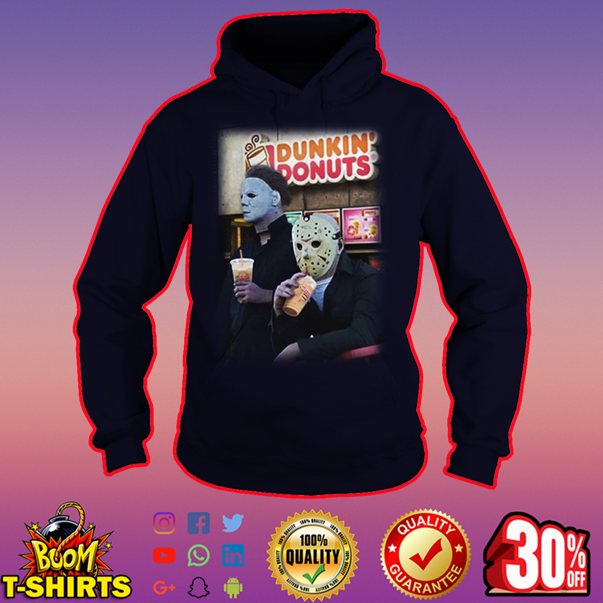 Michael Myers and Jason Voorhees Dunkin' Donuts hoodie