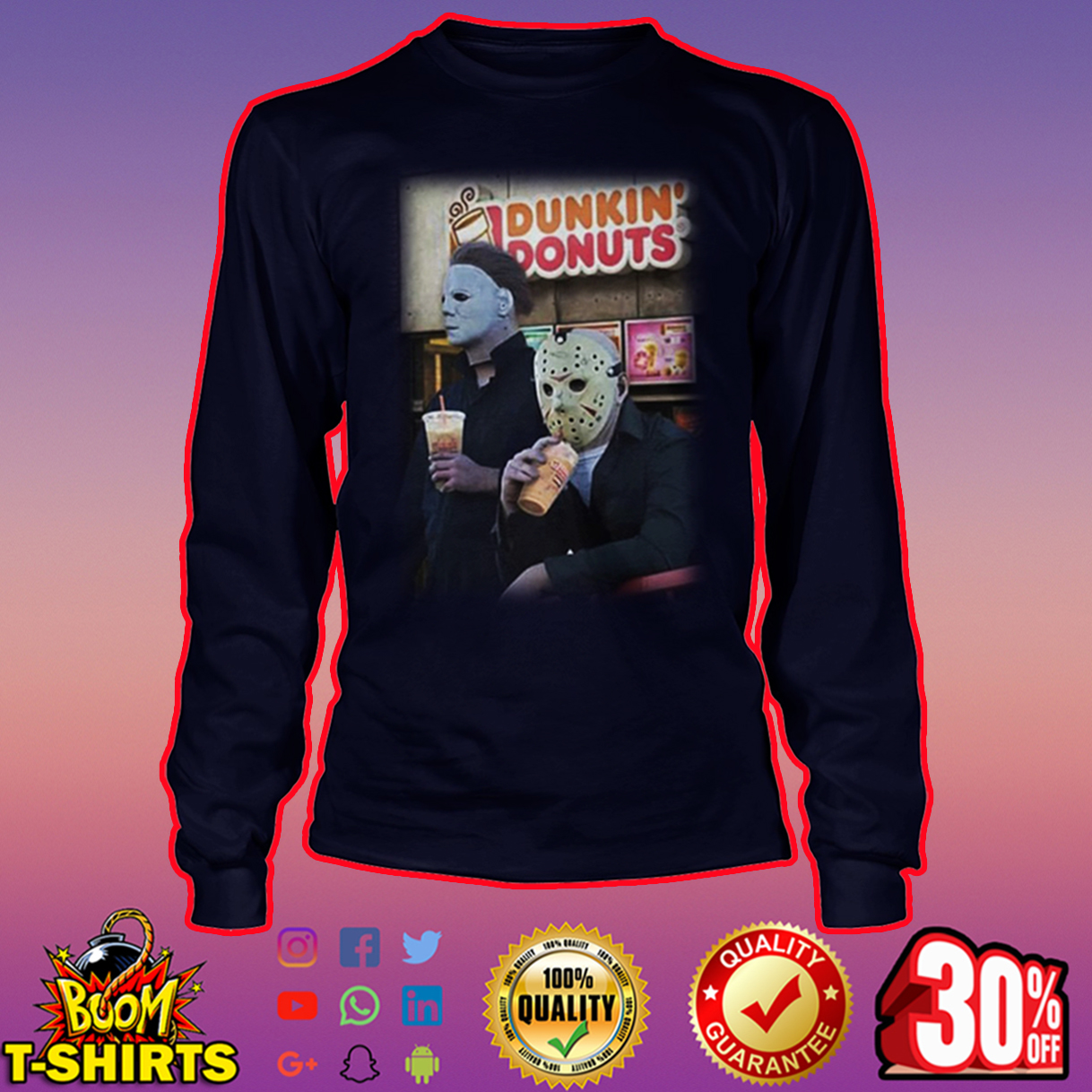 Michael Myers and Jason Voorhees Dunkin' Donuts long sleeve tee