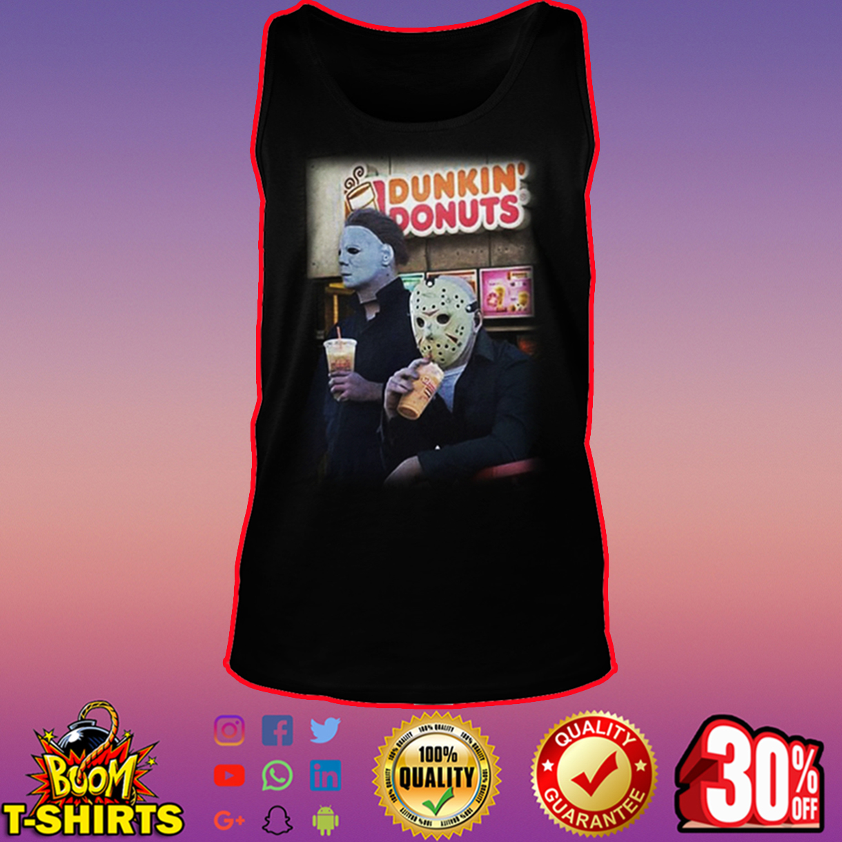 Michael Myers and Jason Voorhees Dunkin' Donuts tank top