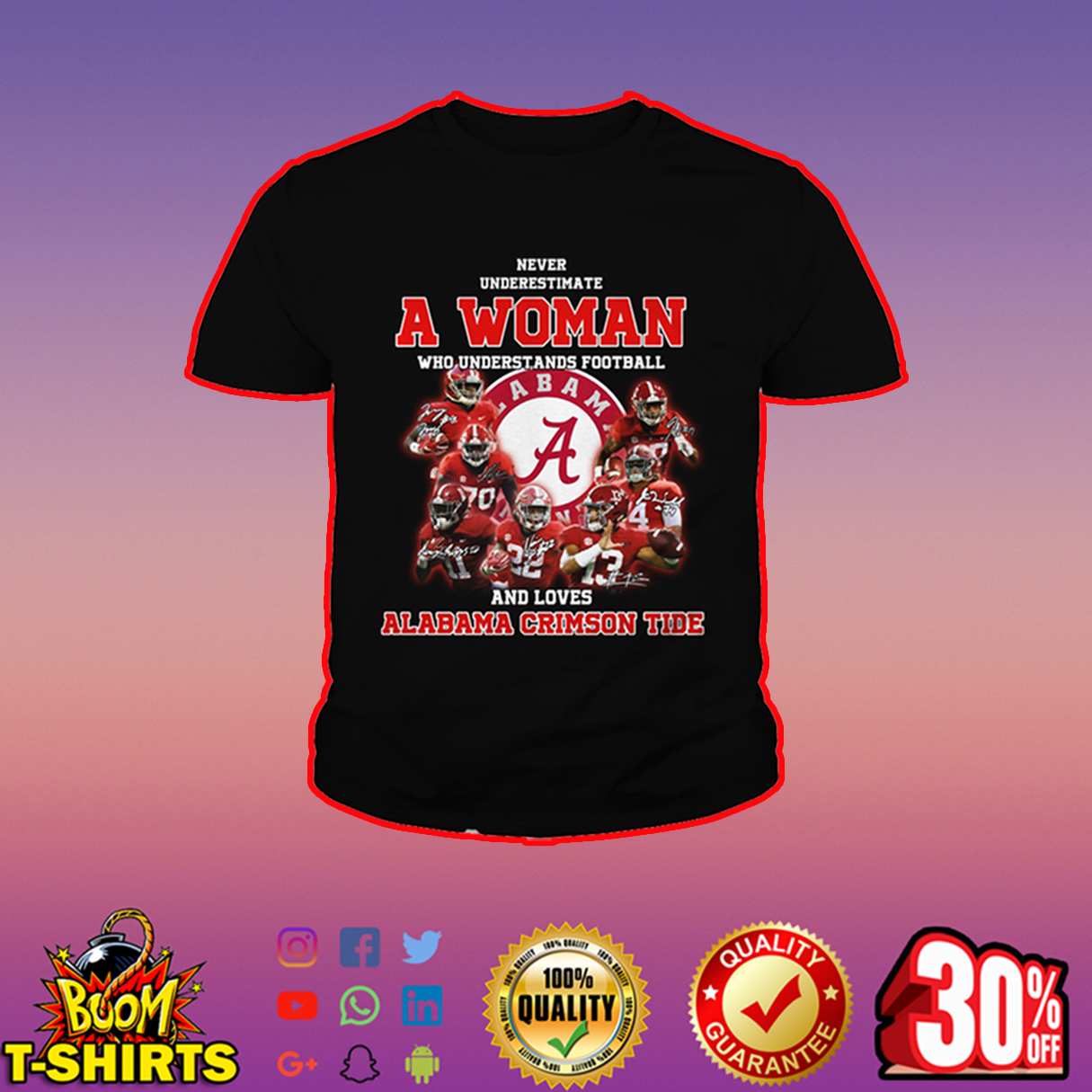 Never underestimate a woman who understands football and loves Alabama Crimson Tide youth tee