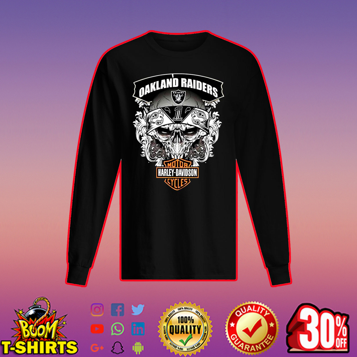 Oakland Raiders Harley-Davidson Skull long sleeved t-shirt