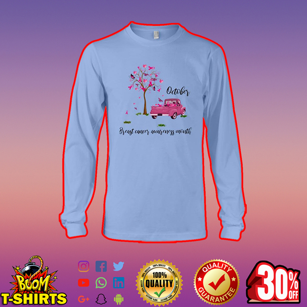 October breast cancer awareness month long sleeve tee