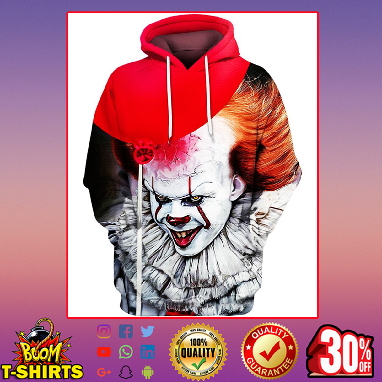 Pennywise IT Hoodie 3D, T-shirt 3D