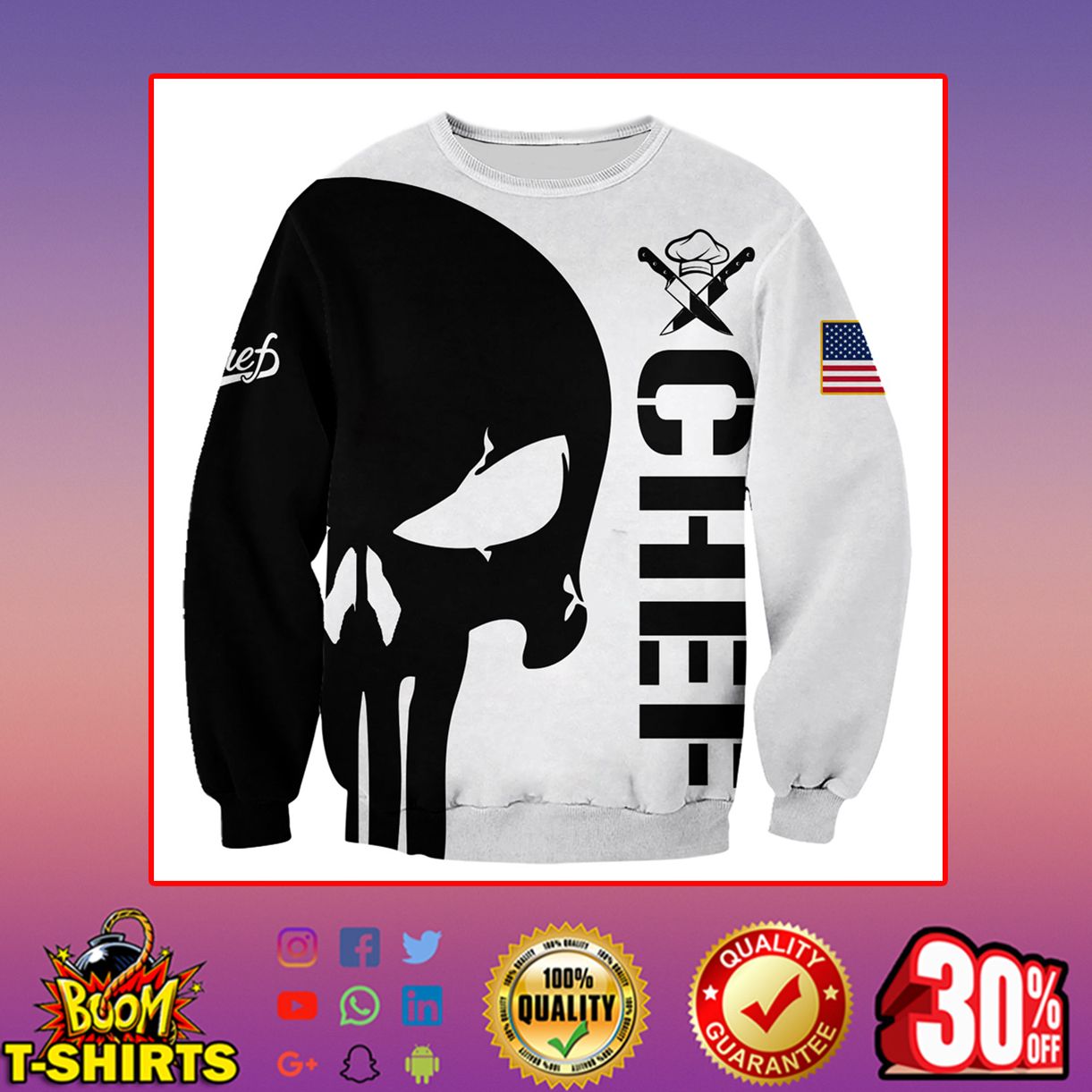 Punisher skull Chef 3d hoodie sweatshirt 3d