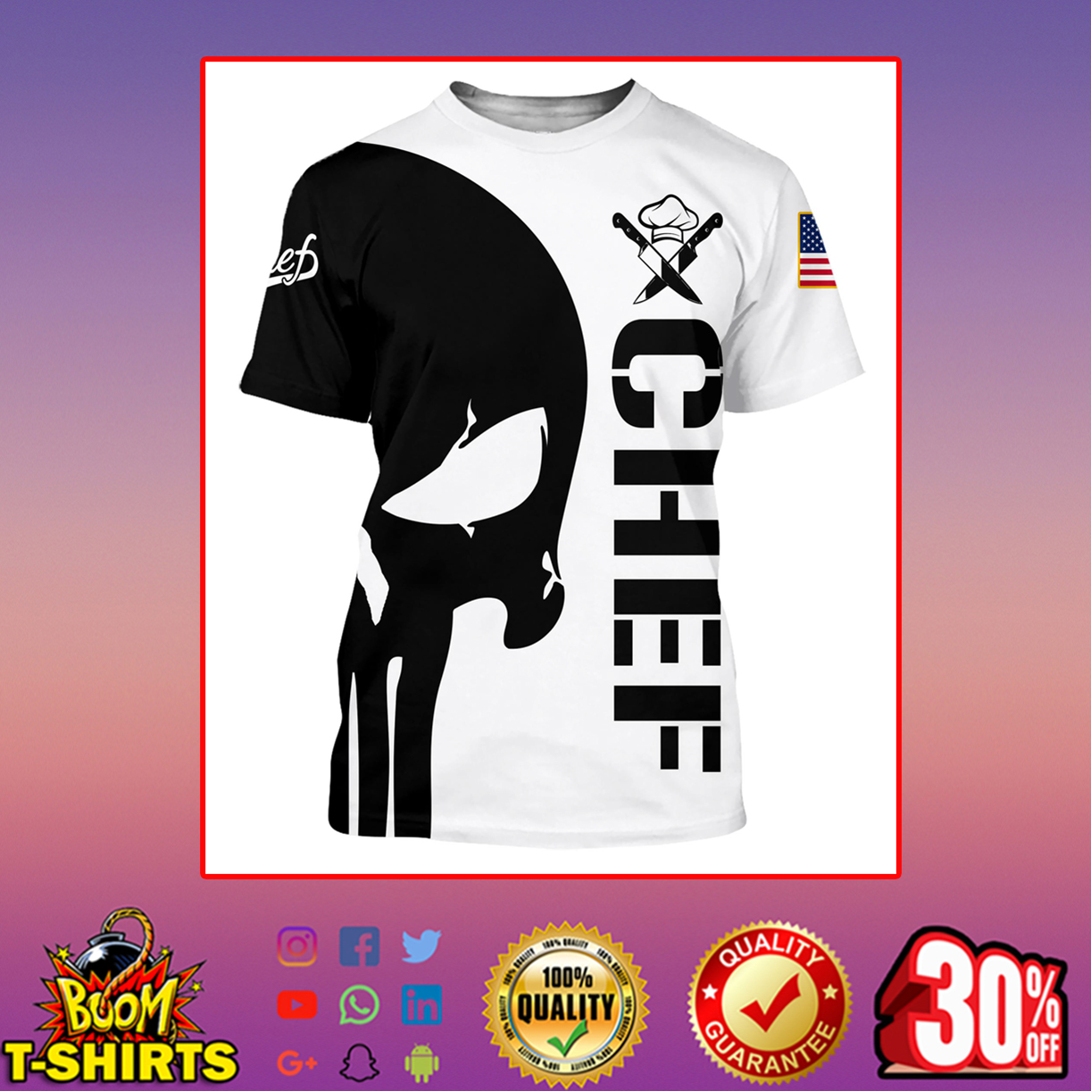 Punisher skull Chef 3d hoodie t-shirt 3d