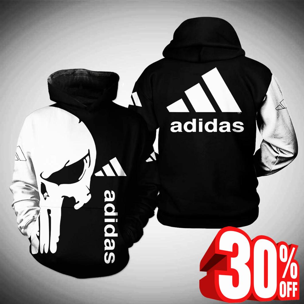 Punisher skull adidas hoodie 3d