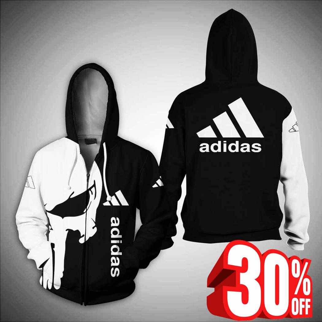 Punisher skull adidas zip hoodie 3d