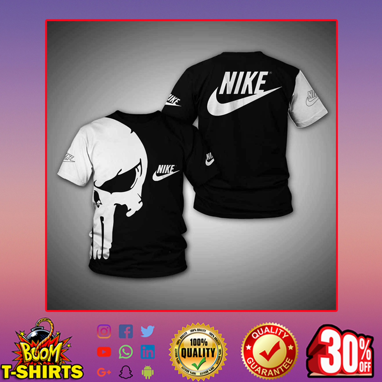 Punisher skull nike 3d full print hoodie - t-shirt 3d