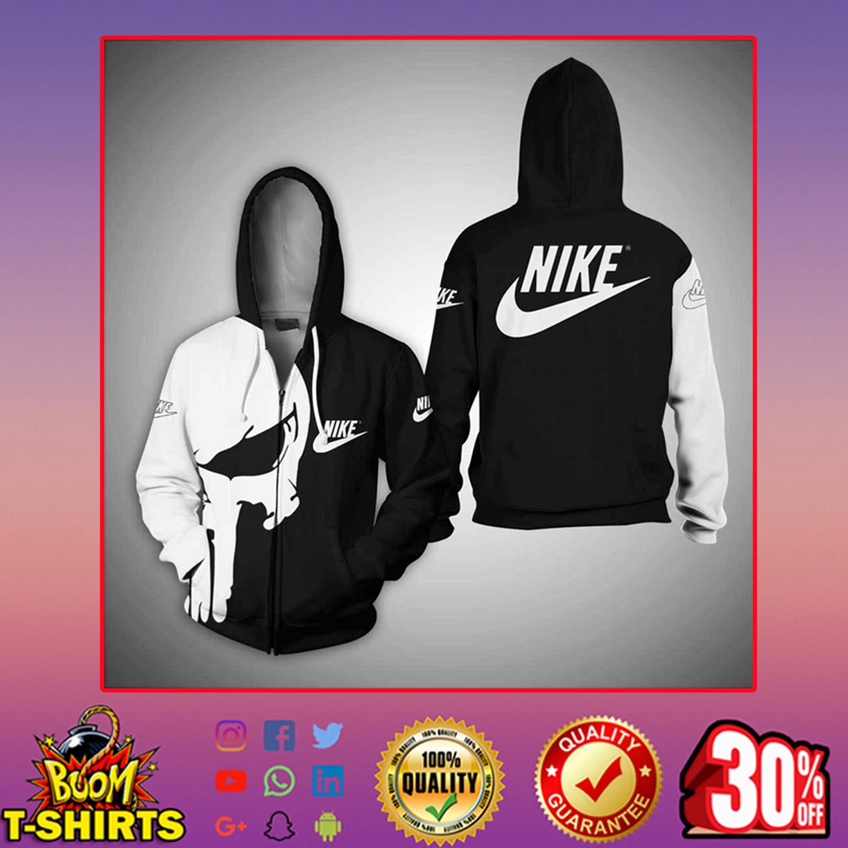 Punisher skull nike 3d full print hoodie - zip hoodie 3d