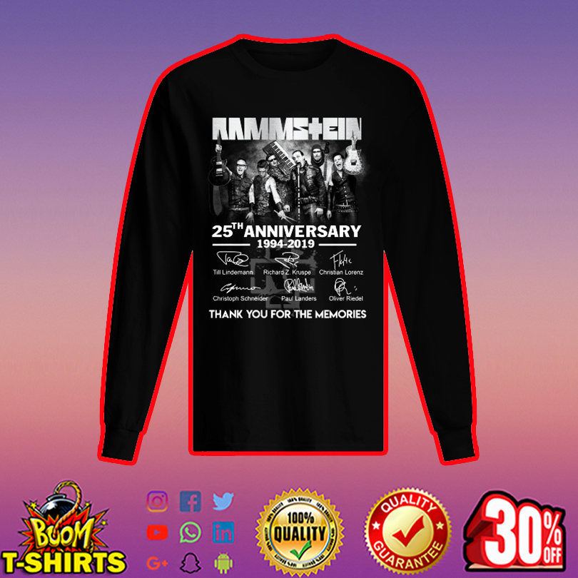 Rammstein 25th anniversary thank you for the memories long sleeved t-shirt