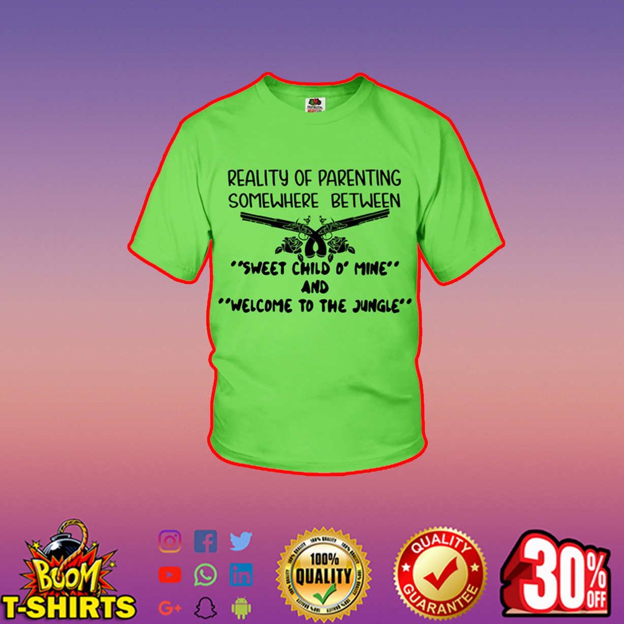 Reality of parenting somewhere between sweet child o' mine and welcome to the jungle youth t-shirt