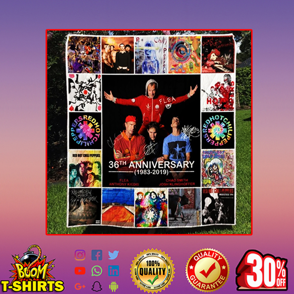 Red Hot Chili Peppers 36th anniversary quilt blanket - twin (60x70 inches)
