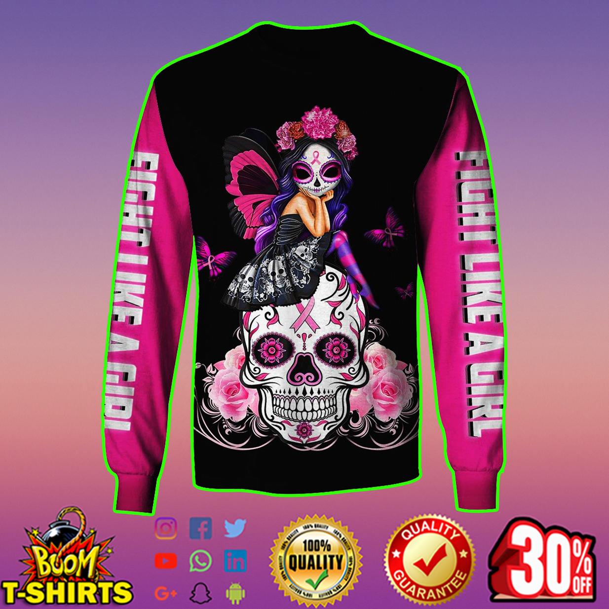 Skull pink warrior like fight a girl 3d hoodie - long sleeve shirt 3d
