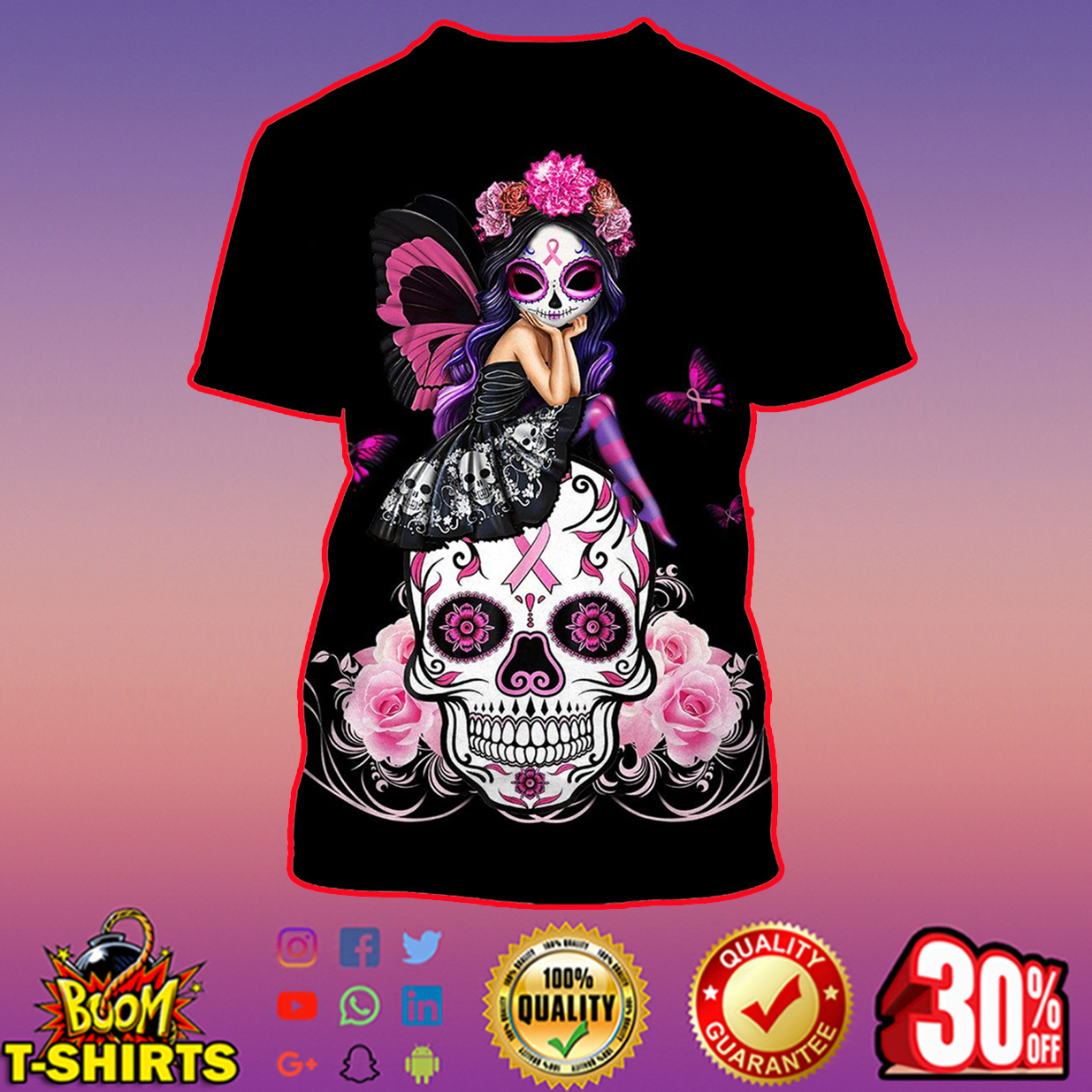 Skull pink warrior like fight a girl 3d hoodie - t-shirt 3d