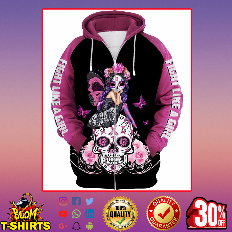 Skull pink warrior like fight a girl 3d hoodie - zip hoodie 3d
