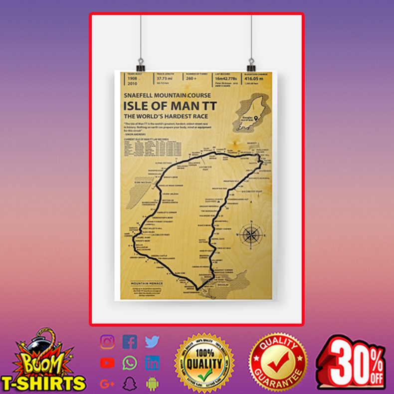 Snaefell Mountain Course Isle Ò Man TT The World's Hardest Race Poster A1 (594 x 841mm)