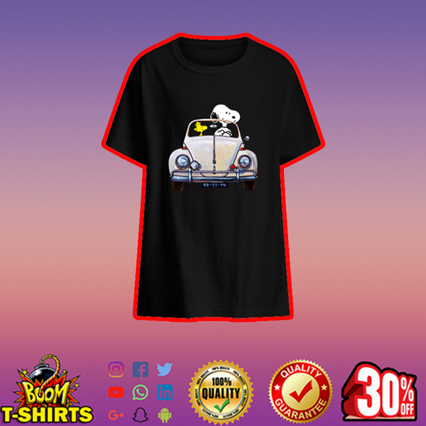 Snoopy and Woodstock driving car kids t-shirt