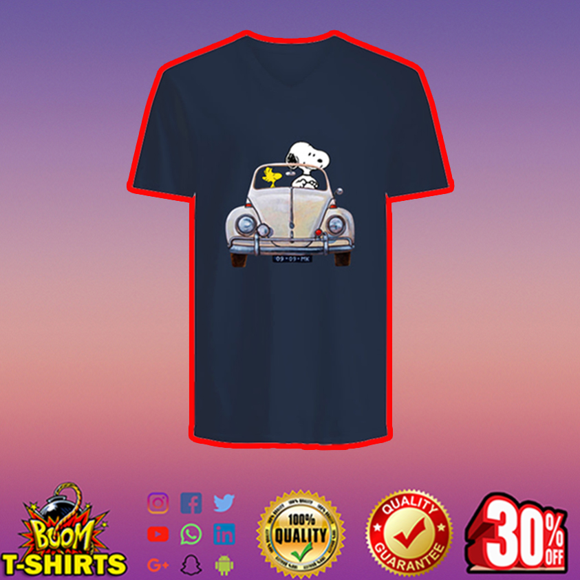 Snoopy and Woodstock driving car v-neck