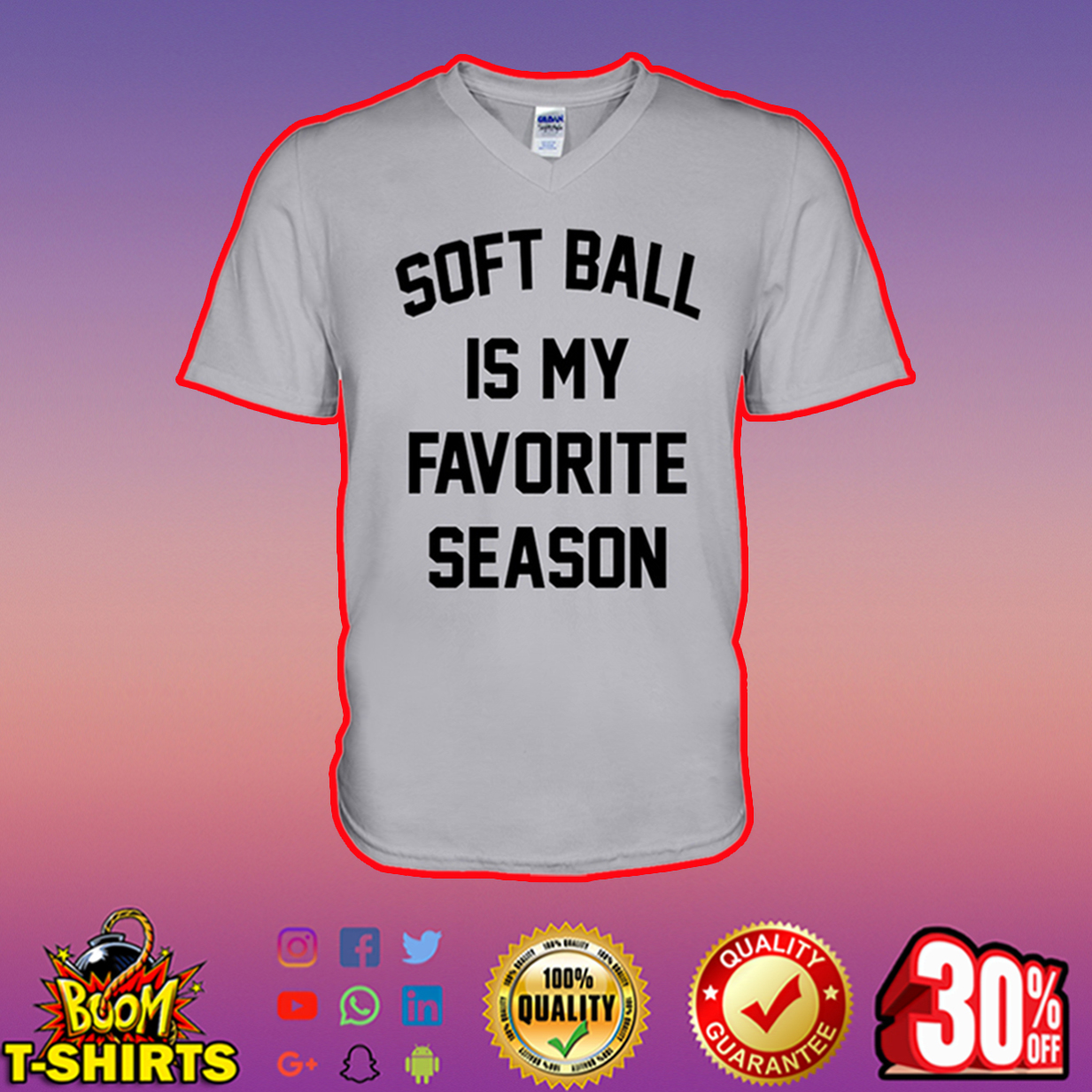 Soft Ball is my Favorite Season v-neck