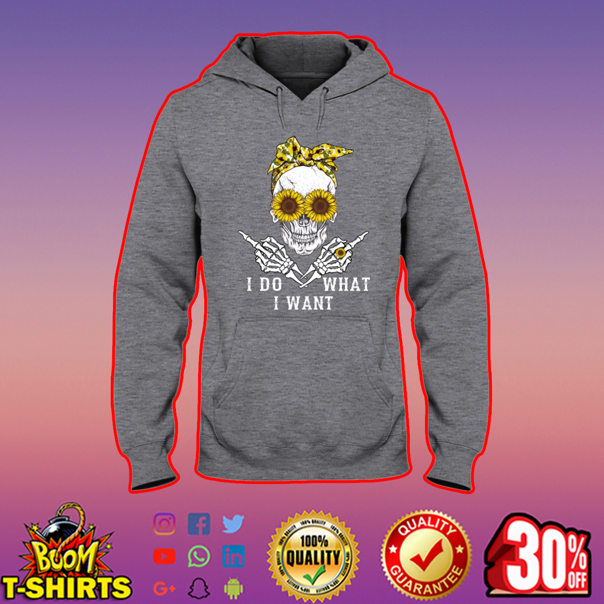 Sunflower Lady Skull I Do What I Want shirt and hooded sweatshirt hooded sweatshirt