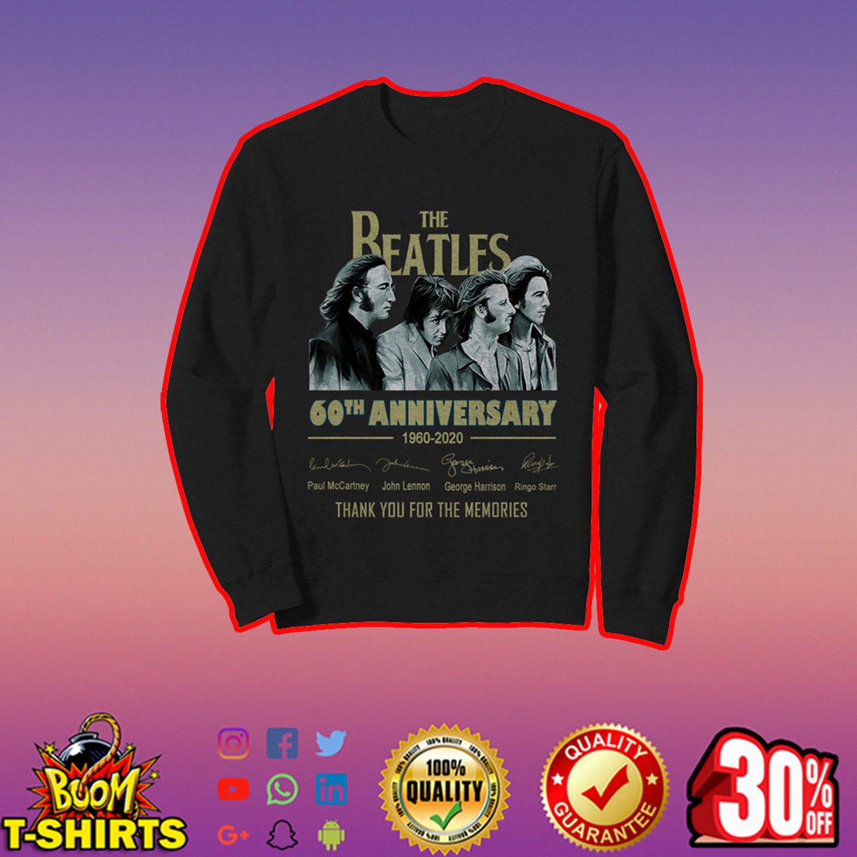 The Beatles 60th anniversary 1960 2020 thank you for the memories sweatshirt