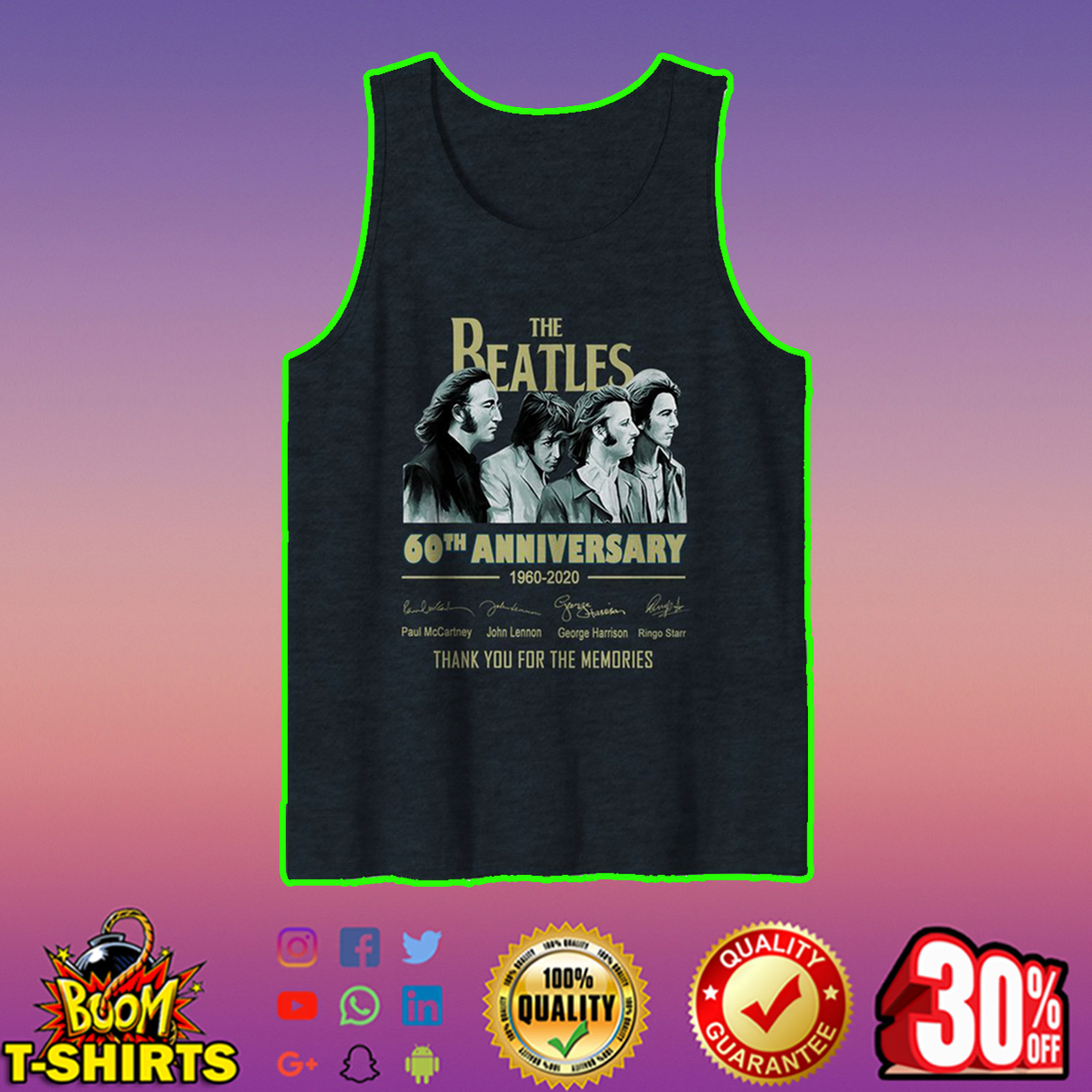 The Beatles 60th anniversary 1960 2020 thank you for the memories tank top