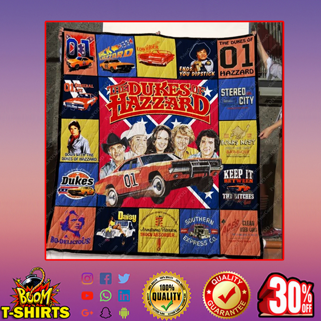 The dukes of hazzard quilt blanket - queen (70x80 inches)