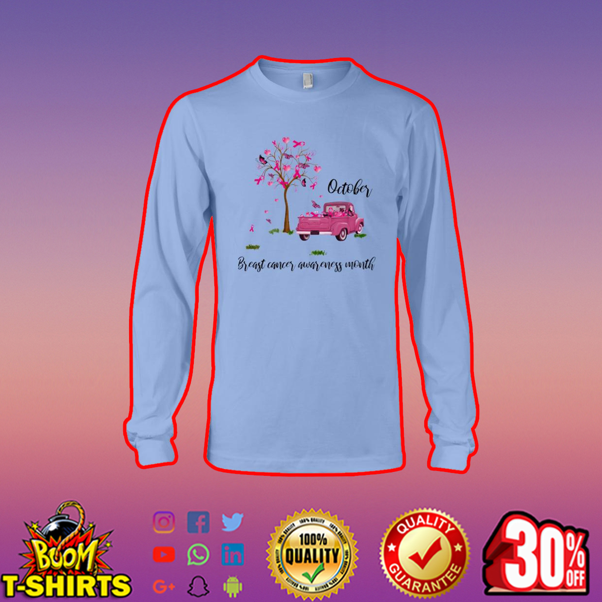 Tree and car October breast cancer awareness month long sleeve tee
