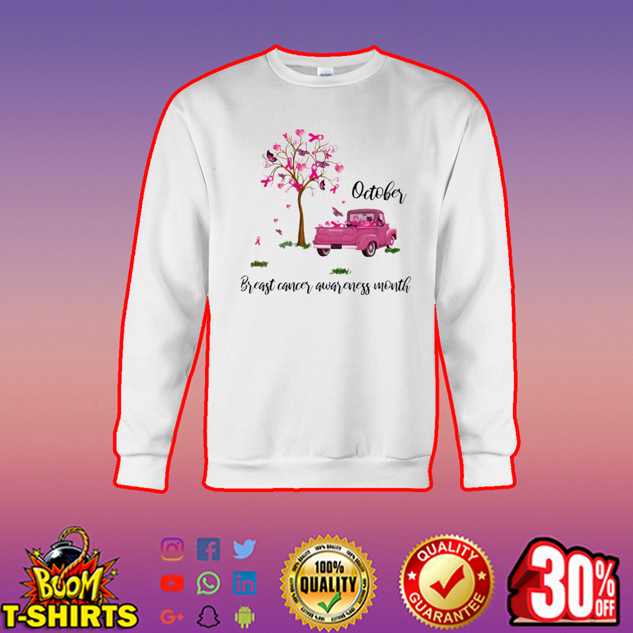 Tree and car October breast cancer awareness month sweatshirt