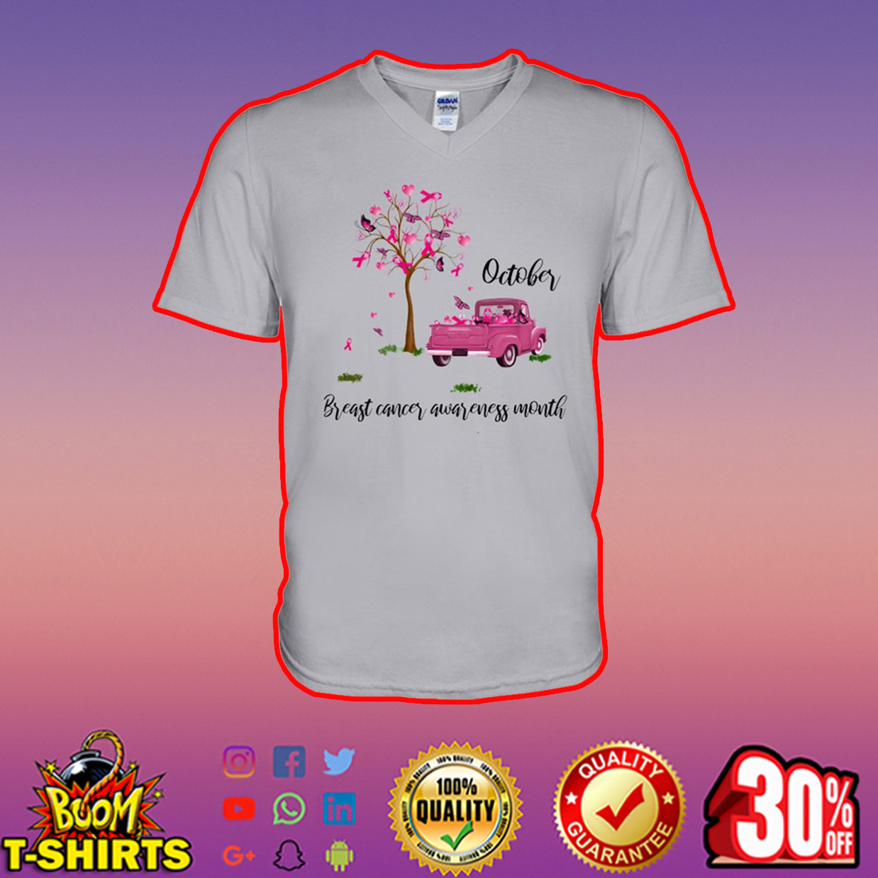 Tree and car October breast cancer awareness month v-neck
