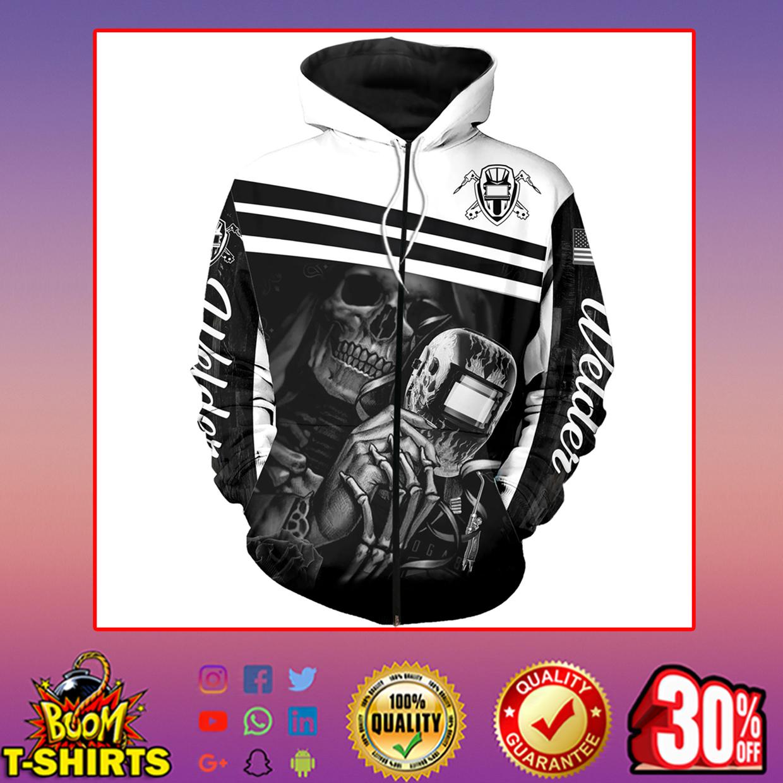 Welder skull skeleton 3d printed hoodie, t-shirt, zip hoodie - zip hoodie 3d