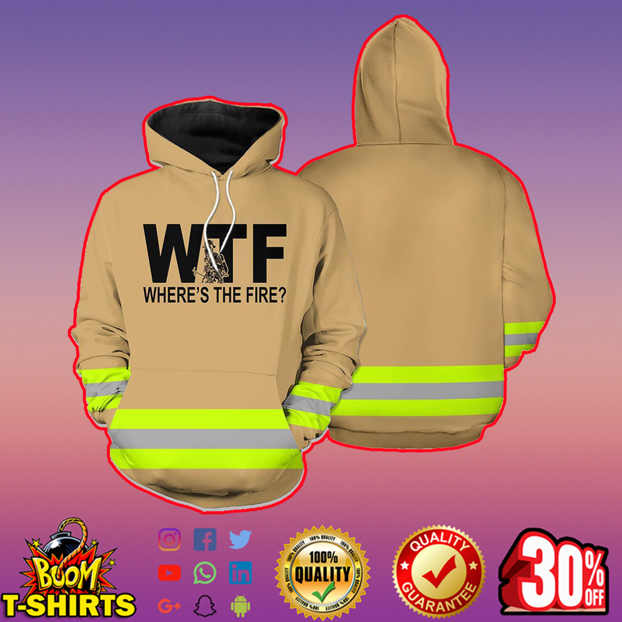 Where's The Fire WTF Firefighter 3D Hoodie - brown