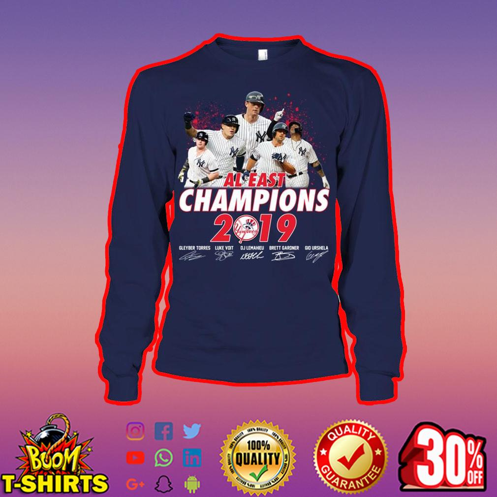 Yankees AL east champions 2019 signature long sleeve tee