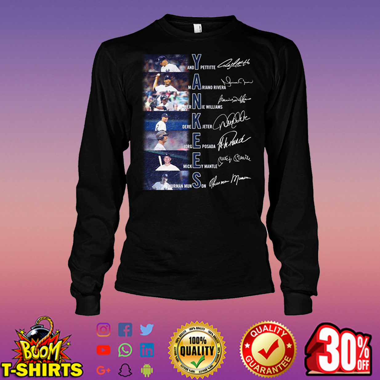Yankees Andy Pettitte Mariand Rivera Bernie Williams Derek Jeter signature long sleeve