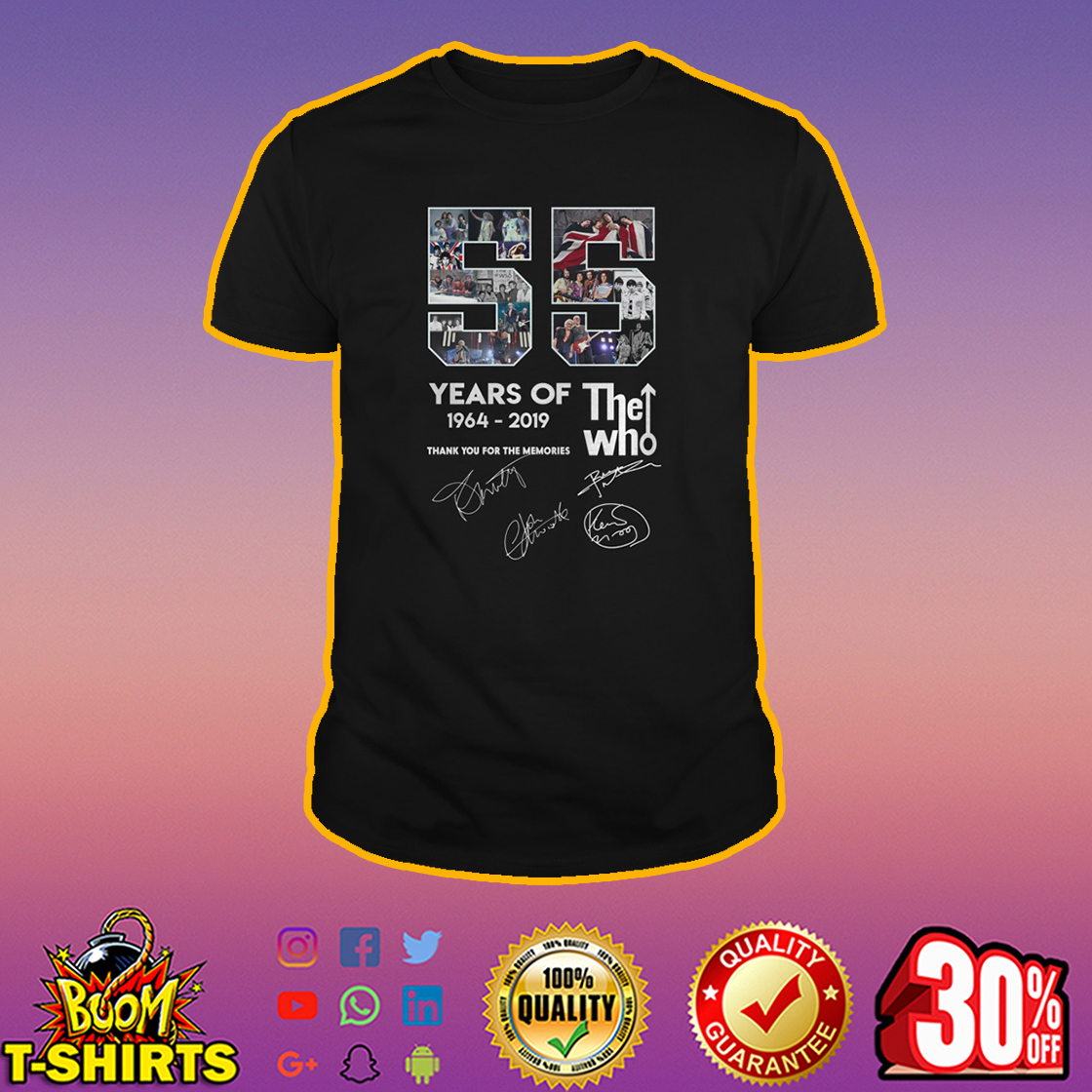 55 Years Of The Who 1964 2019 Thank You For The Memories shirt