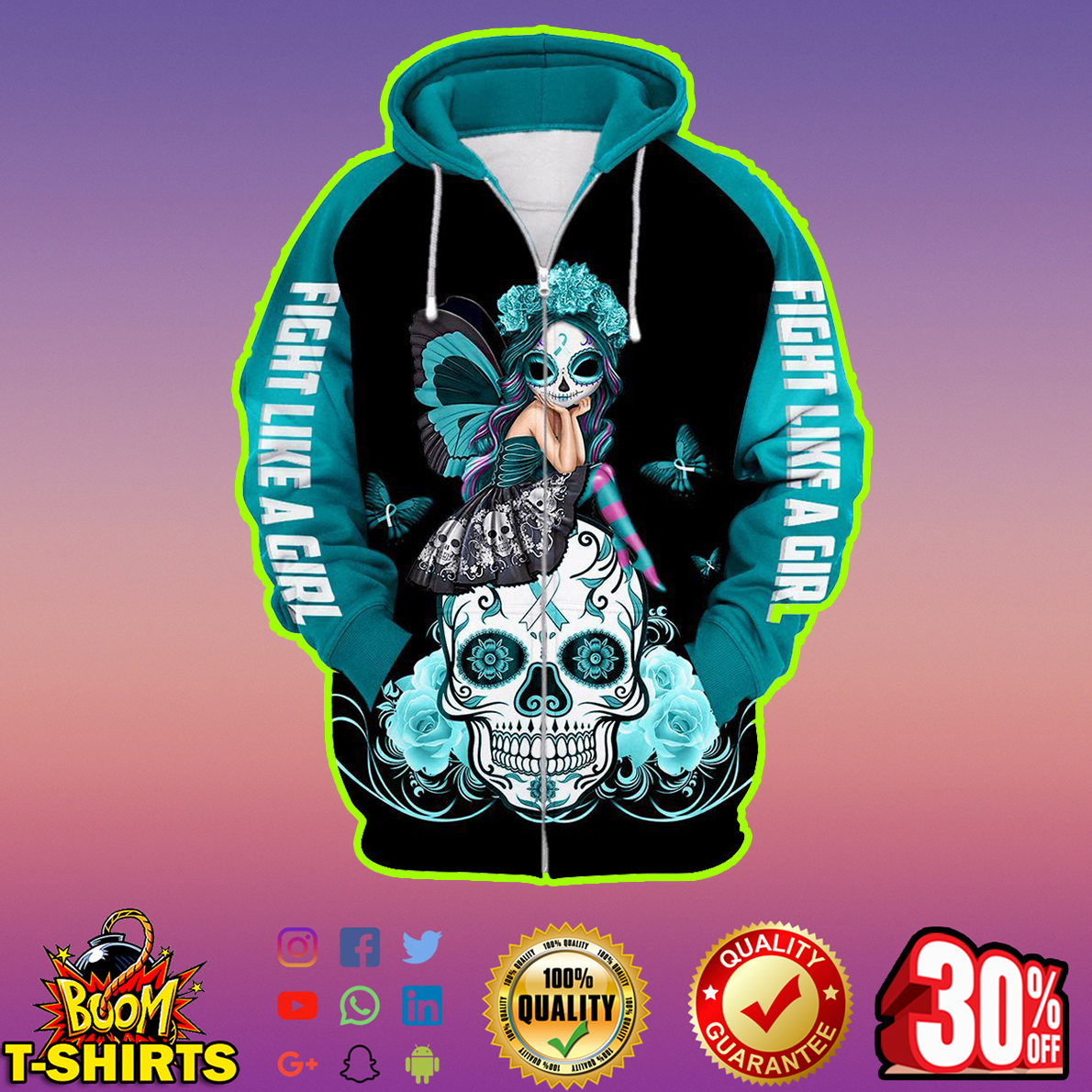 All Awareness Ribbons Skull Fight Like A Girl 3d zip hoodie
