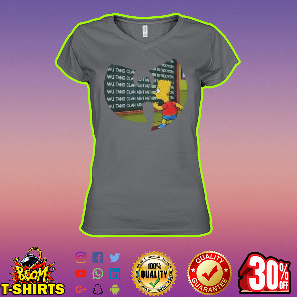 Bart Simpson Wu-Tang Clan v-neck