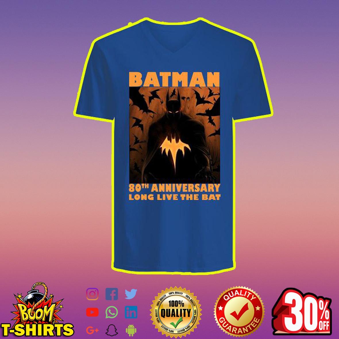 Batman 80th Anniversary Long Live The Bat v-neck
