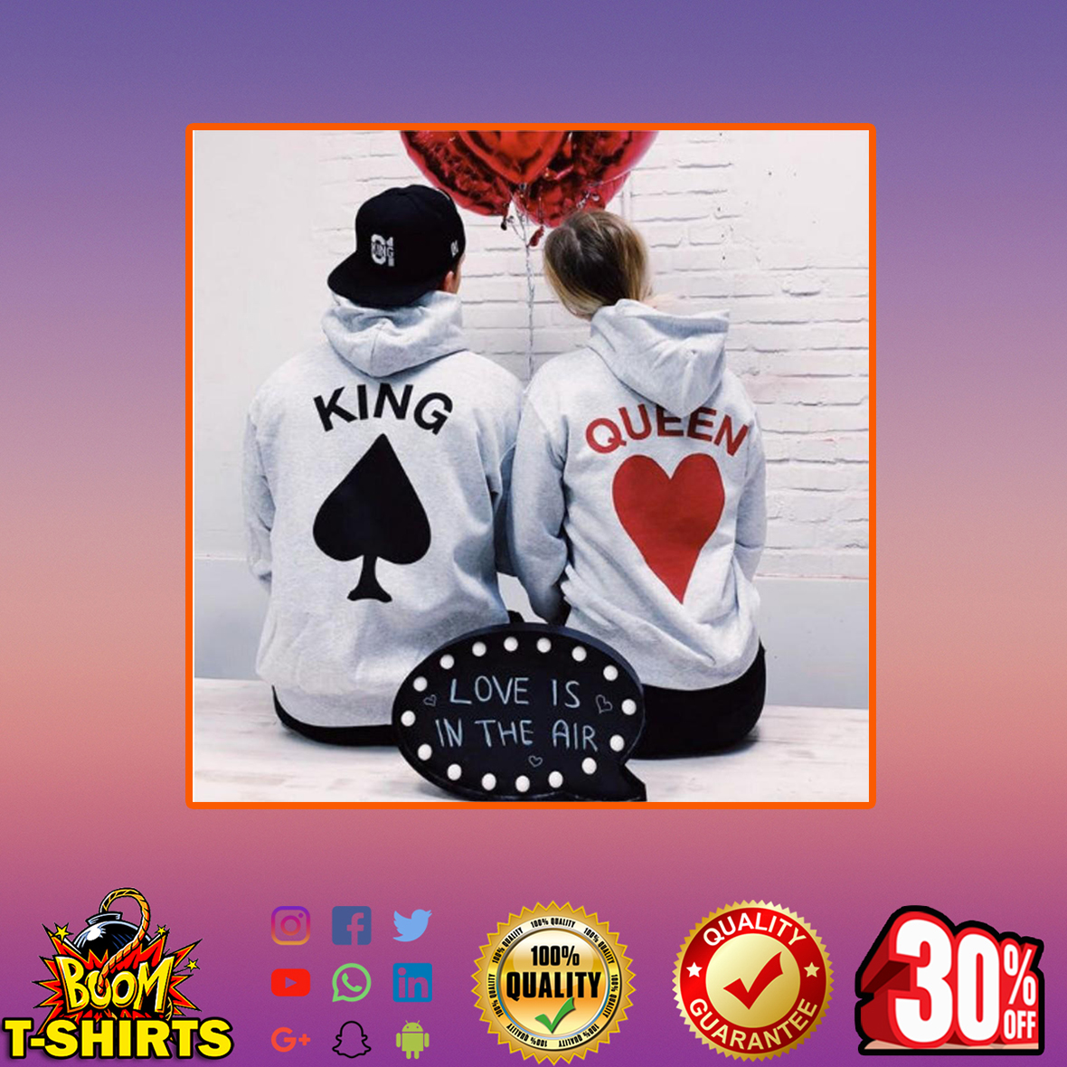 Card King and Queen Hoodies - XL