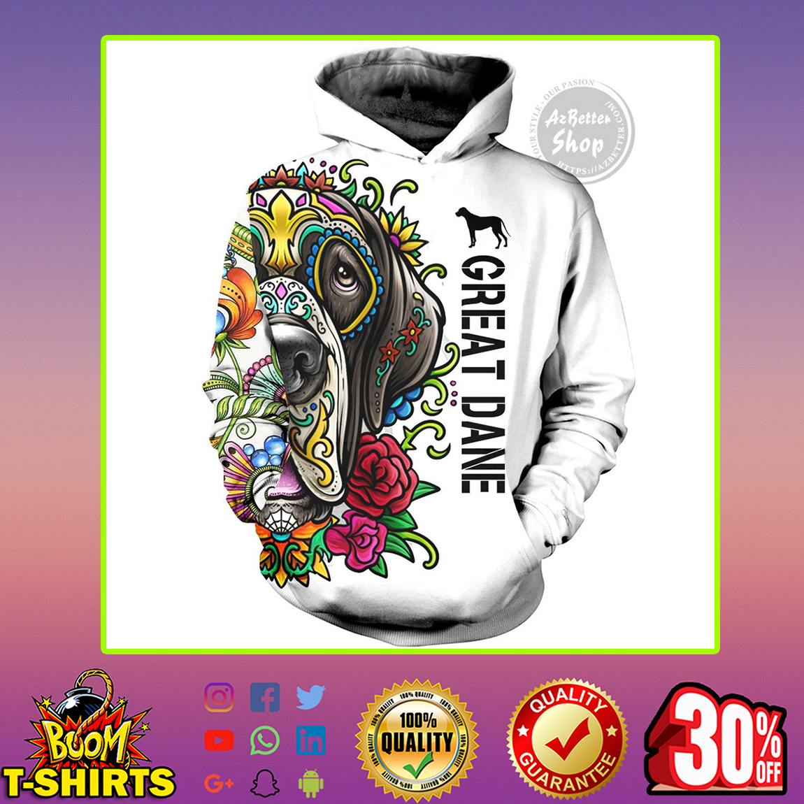 Great Dane Flower 3D Hoodie