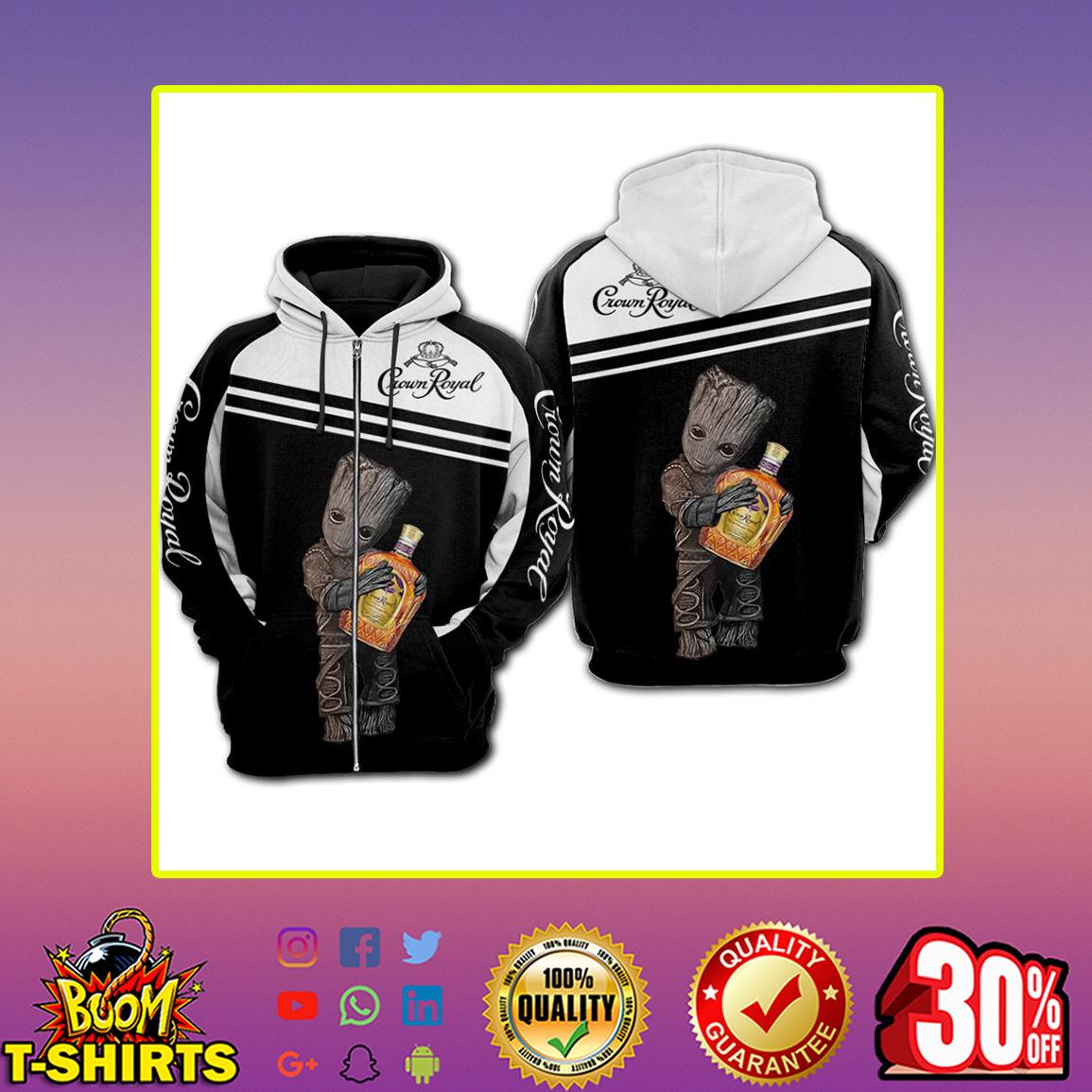 Groot Crown Royal 3d zip hoodie