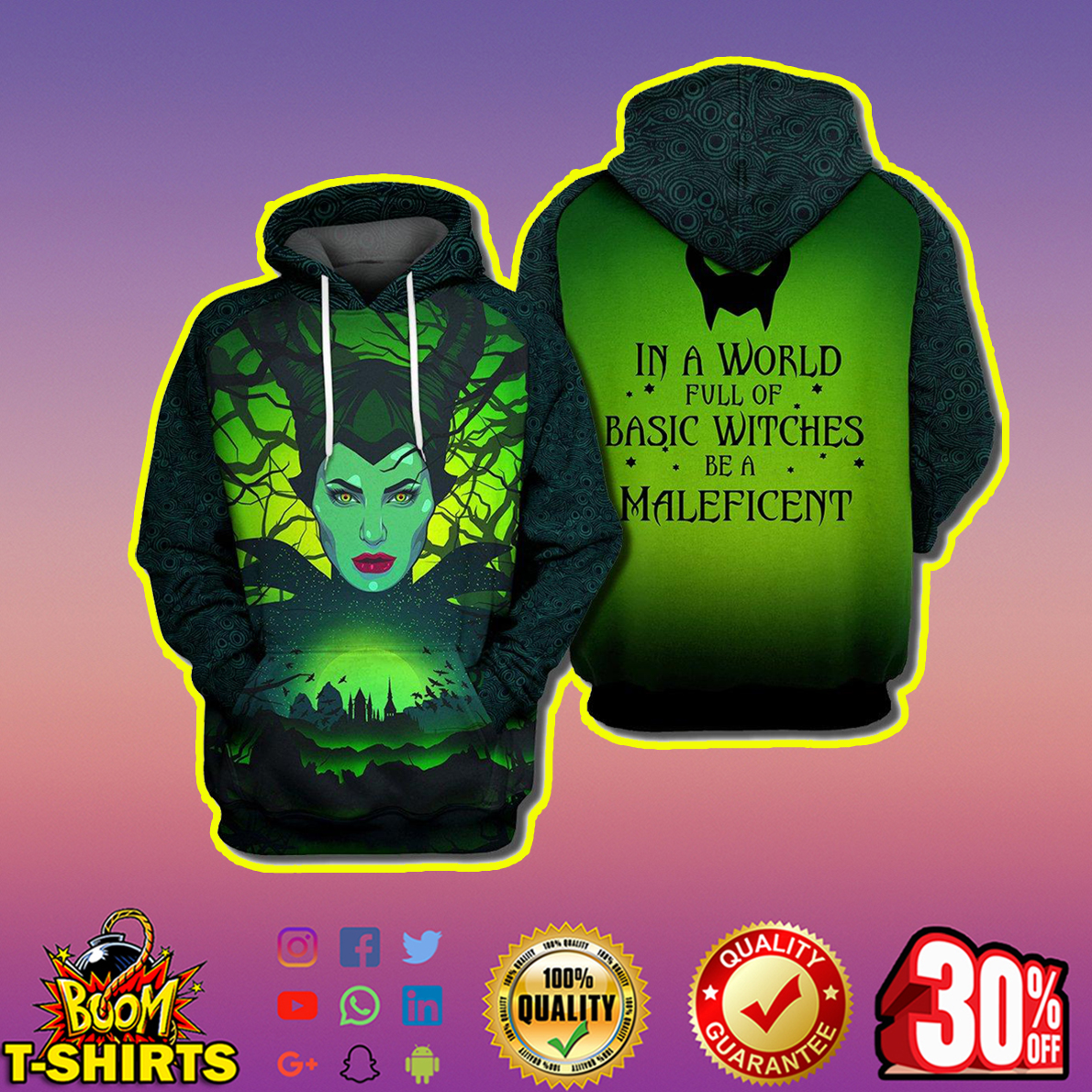 In a world full of basic witches be a Maleficent 3d print hoodie