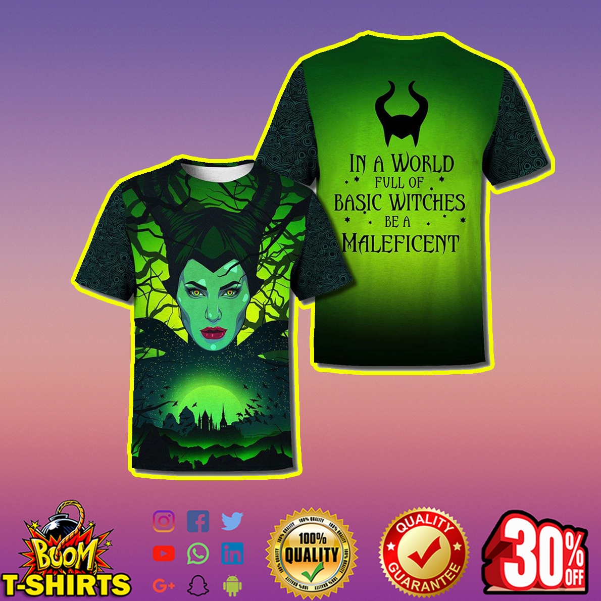 In a world full of basic witches be a Maleficent 3d print t-shirt