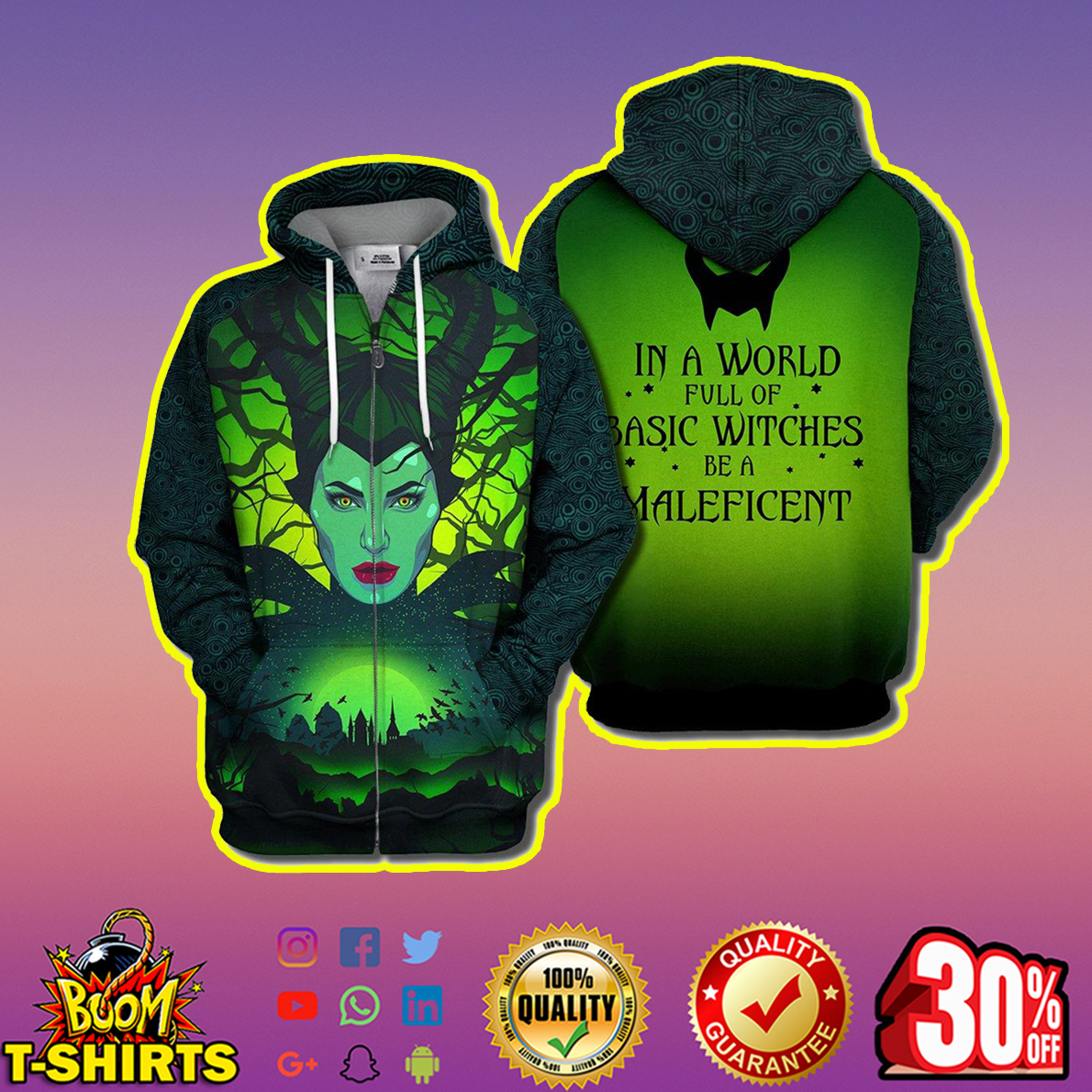 In a world full of basic witches be a Maleficent 3d print zip hoodie