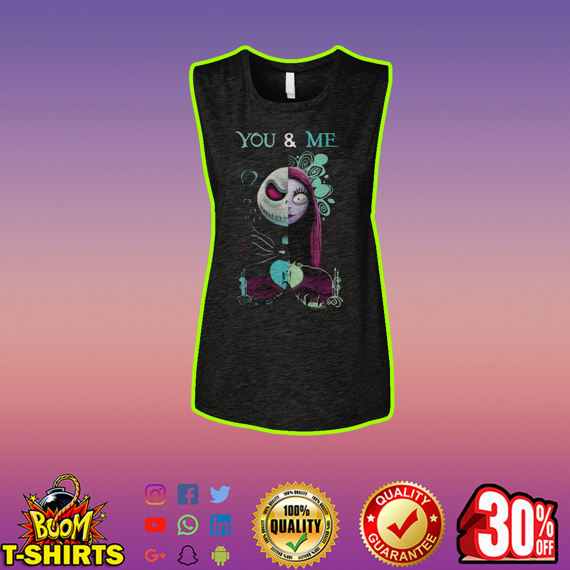 Jack Skellington and Sally You and Me tank top