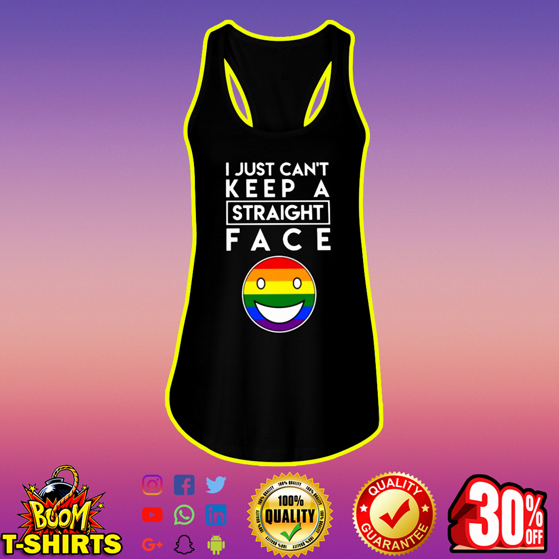 LGBT Pride I Just Can't Keep a Straight Face flowy tank
