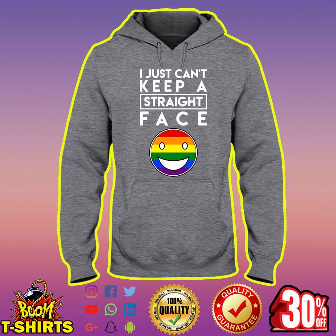 LGBT Pride I Just Can't Keep a Straight Face hoodie
