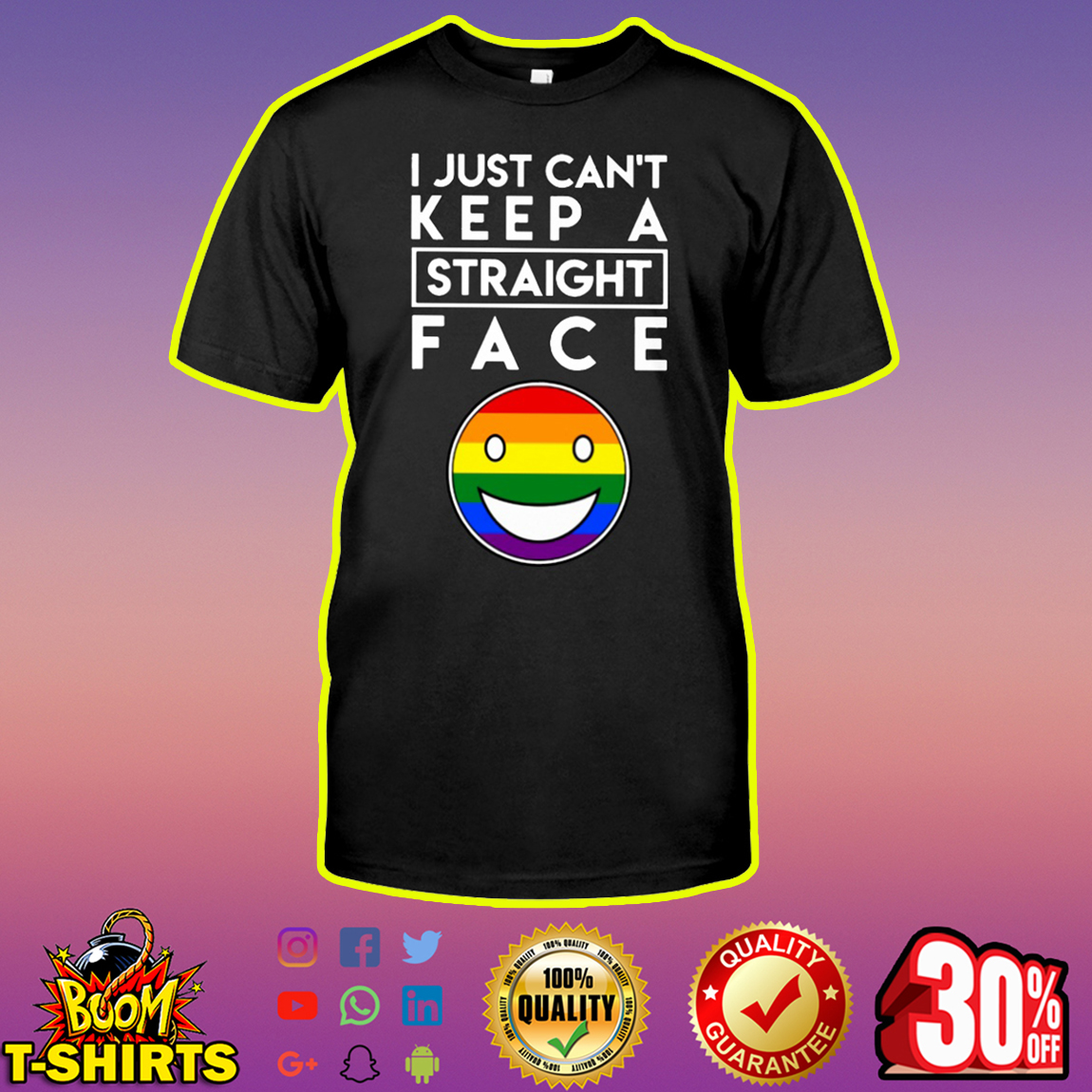 LGBT Pride I Just Can't Keep a Straight Face shirt