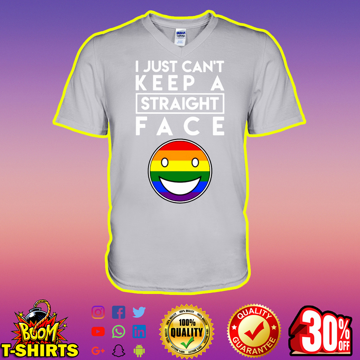 LGBT Pride I Just Can't Keep a Straight Face v-neck