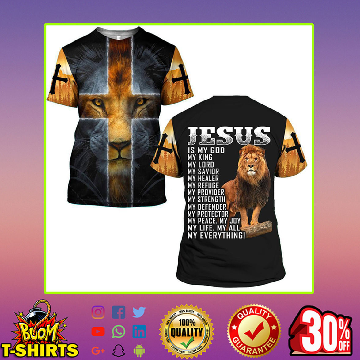 Lion Jesus is my god my everything 3d t-shirt - L